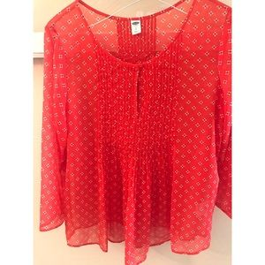 3/4 sheer red white floral blouse top Pleated Sm